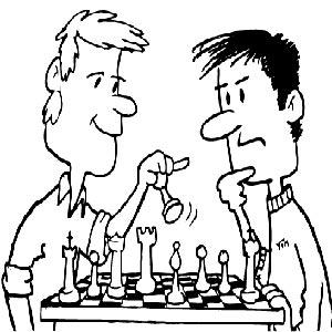 نقاشی دو مرد در حال بازی شطرنج
