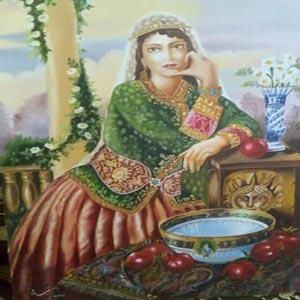 نقاشی از یک زن ایرانی خاتون