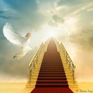 راه پله ای همراه با فرش قرمز به سوی بهشت با حضور فرشته