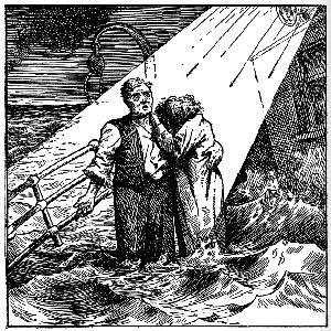 نقاشی سیاه و سفید زن و مردی بر روی عرشه کشتی در حال غرق شدن