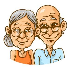 نقاشی زوج پیر عاشق و خشنود از هم