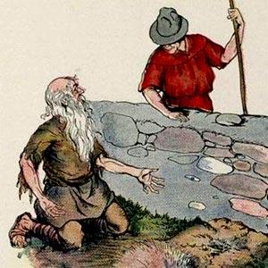 نقاشی پیرمرد خسیس در کنار گودال خالی