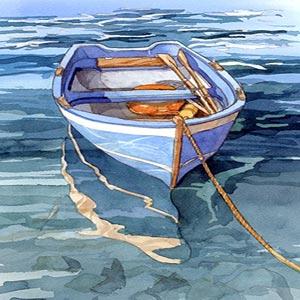 نقاشی یک قایق پارویی در آب که با طناب به جایی بسته شده است