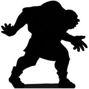 تصویر سیاه و سفید یک مرد درشت هیکل قوزدار