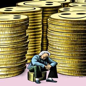 مردی غمگین نشسته بر روی چهارپایه با انبوهی از سکه در پشت سرش