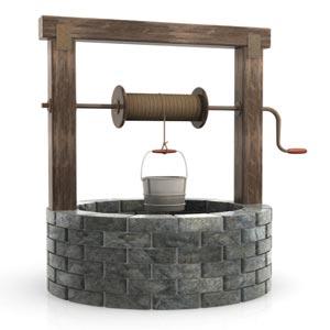 چاه آب با سطل و قرقره