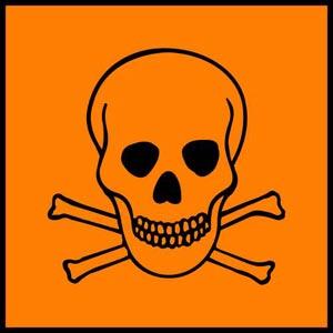 نقاشی علامت خطر جمجمه انسان و استخوان به رنگ نارنجی